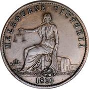Australia 1/2 Penny 1860 KM# TnA11 Private Token issues MELBOURNE VICTORIA 1860 coin reverse