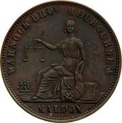 Australia 1/2 Penny 1861 KM# Tn261 Private Token issues WARNOCK BROS. MELBOURNE coin obverse