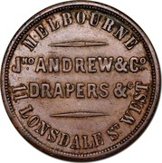 Australia 1/2 Penny 1862 KM# Tn13 Private Token issues MELBOURNE JNO ANDREW & CO DRAPERS & C 11 LONSDALE ST. WEST coin obverse