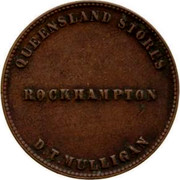 Australia 1/2 Penny 1863 KM# Tn177 Private Token issues QUEENSLAND STORES ROCKHAMPTON D.T. MULLIGAN coin obverse