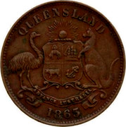 Australia 1/2 Penny 1863 KM# Tn177 Private Token issues QUEENSLAND coin reverse