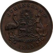 Australia 1/2 Penny 1865 KM# Tn195 Private Token issues QUEENSLAND ADVANCE AUSTRALIA 1865 coin reverse