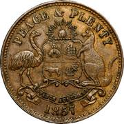Australia 1/2 Penny Hanks & Lloyd Token 1857 KM# Tn83.2 PEACE & PLENTY coin reverse
