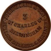 Australia 1/2 Penny Joseph Lane & Son ND KM# Tn279 JOSEPH LANE & SON BULLION DEALERS 7 REFINERS 3 GT CHARLES ST BIRMINGHAM coin obverse
