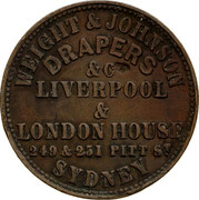 Australia 1/2 Penny ND KM# Tn267 Private Token issues WEIGHT & JOHNSON DRAPERS &CLIVERPOOL & LONDON HOUSE 248 & 251 PITT ST SYDNEY coin obverse