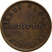 Australia 1/2 Penny ND KM# Tn185 Private Token issues JAMES NOKES GROCER MELBOURNE coin obverse