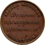 Australia 1/2 Penny ND KM# Tn181 Private Token issues ALFRED NICHOLAS LIVERPOOL TEA WAREHOUSE LIVERPOOL ST. HOBART TOWN coin obverse