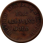 Australia 1/2 Penny ND KM# Tn290 Foreign Token issues REFINED AUSTRALIAN COPPER FOR ALLOYING GOLD coin reverse