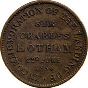 Australia 1/2 Penny ND KM# Tn185 Private Token issues IN COMMEMORATION OF THE LANDING OF SIR CHARLES HOTHAM 22D JUNE 1854 coin reverse