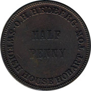 Australia 1/2 Penny ND KM# Tn87 Private Token issues O.H. HEDBERG SWEDISH HOUSE HOBART TON coin reverse