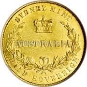 Australia 1/2 Sovereign ½ Sovereign - Victoria 1856 KM# 1 SYDNEY MINT AUSTRALIA HALF SOVEREIGN coin reverse