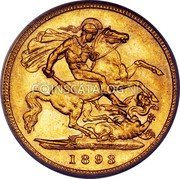 Australia 1/2 Sovereign Victoria 1/2 Sovereign 1893 S KM# 12 *YEAR* coin reverse