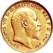 Australia 1/2 Sovereign Edward VII 1906 KM# 14 EDWARDVS VII D: G: BRITT: OMN: REX F: D: IND: IMP: DeS. coin obverse