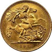 Australia 1/2 Sovereign George V 1916 KM# 28 1918 B.P coin reverse