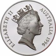 Australia $1 30th Anniversary - Decimal Coinage 1996 KM# 326 ELIZABETH II AUSTRALIA 1996 RDM coin obverse