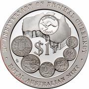 Australia $1 30th Anniversary - Decimal Coinage 1996 KM# 326 30TH ANNIVERSARY DECIMAL CURRENCY $1 ROYAL AUSTRALIAN MINT HH coin reverse