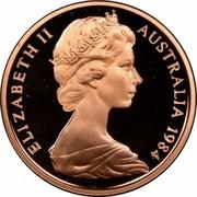 Australia 1 Cent Glider 1984 Proof KM# 62 ELIZABETH II AUSTRALIA *YEAR* coin obverse