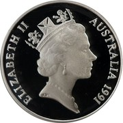 Australia 1 Cent Glider 1991 KM# 78a ELIZABETH II AUSTRALIA 1991 RDM coin obverse