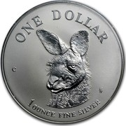 Australia 1 Dollar Australian Kangaroo 1995 KM# 293.2 ONE DOLLAR C HH 1 OUNCE FINE SILVER coin reverse