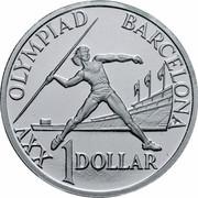 Australia 1 Dollar (Barcelona Olympics) KM# 175a.1 XXV OLYMPIAD BARCELONA 1 DOLLAR coin reverse