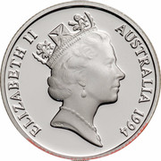 Australia 1 Dollar Decade of Dollars 1994 KM# 258a.2 ELIZABETH II AUSTRALIA 1984 RDM coin obverse