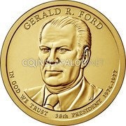 USA 1 Dollar Gerald R. Ford 2016 D Position B KM# 620 GERALD R. FORD PH IN GOD WE TRUST 38th PRESIDENT 1974-1977 coin obverse