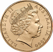 Australia 1 Dollar (HMAS Sydney II) KM# 422 ELIZABETH II AUSTRALIA 2000 IRB coin obverse