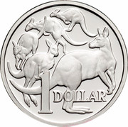 Australia 1 Dollar (Kangaroos) KM# 84a 1 DOLLAR coin reverse
