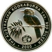 Australia 1 Dollar Kookaburra U.S. State Quarter - South Carolina 2000 KM# 613 THE AUSTRALIAN KOOKABURRA 1 OZ. 999 SILVER 2000 coin reverse