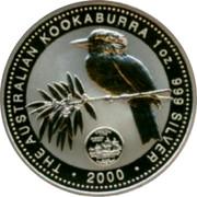 Australia 1 Dollar Kookaburra. U.S. State Quarter - Virginia 2000 KM# 615 THE AUSTRALIAN KOOKABURRA 1 OZ. 999 SILVER 2000 coin reverse