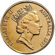 Australia 1 Dollar Sir Charles Kingsford Smith 1997 KM# 355 ELIZABETH II AUSTRALIA 1997 RDM coin obverse