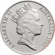 Australia 1 Dollar Sir Charles Kingsford Smith 1997 KM# 355a ELIZABETH II AUSTRALIA 1997 RDM coin obverse