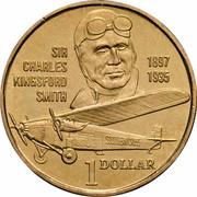 Australia 1 Dollar Sir Charles Kingsford Smith 1997 KM# 327 SIR CHARLES 1897 KINGSFORD 1935 SMITH 1 DOLLAR coin reverse