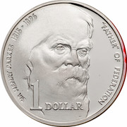 """Australia 1 Dollar Sir Henry Parkes 1996 KM# 310a SIR HENRY PARKES 1815-1896 """"FATHER"""" OF FEDERATION 1 DOLLAR WP coin reverse"""