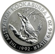 Australia 1 Dollar The Australian Kookaburra 1992 KM# 164 THE AUSTRALIAN KOOKABURRA 1 OZ. 999 SILVER 1992 coin reverse