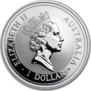 Australia 1 Dollar The Australian Kookaburra 1995 KM# 260 ELIZABETH II AUSTRALIA 1 DOLLAR RDM coin obverse