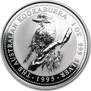 Australia 1 Dollar The Australian Kookaburra 1995 KM# 260 THE AUSTRALIAN KOOKABURRA 1 OZ 999 SILVER *YEAR* coin reverse