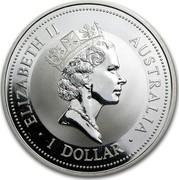 Australia 1 Dollar (The Australian Kookaburra) KM# 289.1 ELIZABETH II AUSTRALIA 1 DOLLAR RDM coin obverse