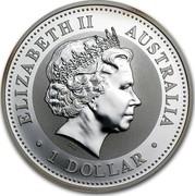 Australia 1 Dollar The Australian Kookaburra (Delaware Mark) 1999 KM# 604 ELIZABETH II AUSTRALIA 1 DOLLAR IRB coin obverse
