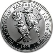 Australia 1 Dollar The Australian Kookaburra (Delaware Mark) 1999 KM# 604 THE AUSTRALIAN KOOKABURRA 1 OZ. 999 SILVER 1999 P100 coin reverse