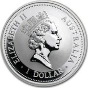 Australia 1 Dollar The Australian Kookaburra (Eagle Privy) 1993 KM# 212.2 ELIZABETH II AUSTRALIA 1 DOLLAR RDM coin obverse