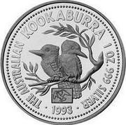 Australia 1 Dollar The Australian Kookaburra (Eagle Privy) 1993 KM# 212.2 THE AUSTRALIAN KOOKABURRA 1 OZ. 999 SILVER 1993 coin reverse