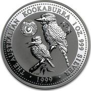 Australia 1 Dollar The Australian Kookaburra (Georgia Privy Mark) 1999 KM# 607 THE AUSTRALIAN KOOKABURRA 1 OZ. 999 SILVER 1999 P100 coin reverse