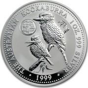 Australia 1 Dollar The Australian Kookaburra (Pennsylvania Privy Mark) 1999 KM# 605 THE AUSTRALIAN KOOKABURRA 1 OZ. 999 SILVER 1999 P100 coin reverse