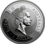 Australia 1 Dollar (The Australian kookaburra. Zurich Privy Mark) KM# 318 ELIZABETH II AUSTRALIA 1 DOLLAR coin obverse