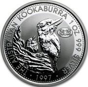 Australia 1 Dollar (The Australian kookaburra. Zurich Privy Mark) KM# 318 THE AUSTRALIAN KOOKABURRA 1 OZ. 999 SILVER coin reverse