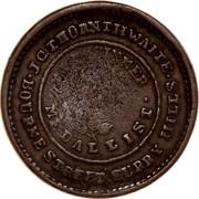 Australia 1 Penny 1854 KM# Tn250 Private Token issues J.C. THORNTHWAITE BOURKE STREET SURRY HILLS SINNER MEDALLIST coin obverse