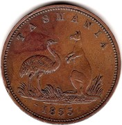 Australia 1 Penny 1855 KM# Tn7 Private Token issues LEWIS ABRAHAMS DRAPER LIVERPOOL STREET HOBART TOWN coin obverse
