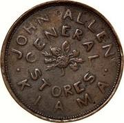 Australia 1 Penny 1855 KM# Tn9 Private Token issues JOHN ALLEN GENERAL STORES KIAMA coin obverse