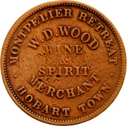 Australia 1 Penny 1855 KM# Tn275 Private Token issues MONTPELIER RETREAT W.D.WOOD WINE & SPIRIT MERCHANT HOBART TOWN coin obverse